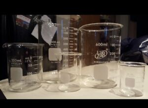 Corning Pyrex Set Of 5 Griffin Style Low Form Corning Glass Beaker Set W marking