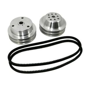 Sbc Chevy 350 Long Water Pump And Crank Aluminum Pulley Kit 1 1 Double Groove