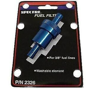 Spectre Blue Billet Aluminum 3 8 Fuel Gas Filters Re Usable Washable Cleanable