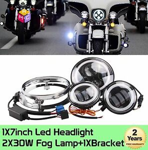 7inch Halo Led Projector Daymaker Headlight passing Lights For Harley Road King