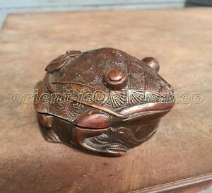 Unique Small Bronze Box Frog Buddha Lucky Incense Burner Censer