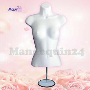 White Mannequin Female Torso Dress Form With Stand Hook For Hanging