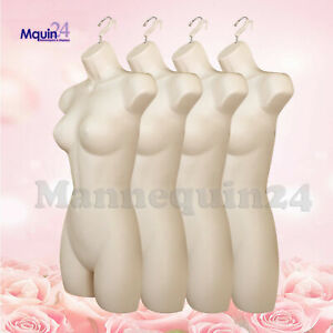 Lot Of 4 Flesh Female Dress Mannequin Forms hanging Hooks Plastic Woman Display