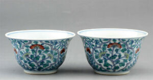 Beautiful Pair Doucai Porcelain Tea Cups