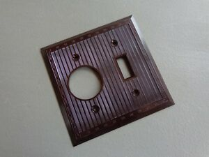 Vintage Light Switch Outlet Cover Plate Brown Bakelite Ribbed Design Usa