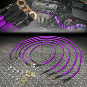 Universal 5 Point Performance Car Grounding Wire Ground Cable System Kit Purple