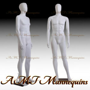 6ft1 Male Mannequin W removable Head arms metal Stand white Plastic Manikin mc2w
