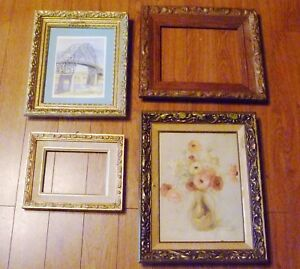 4 Antique Wood Gesso Rococo Florentine Hollywood Regency Wall Picture Frames