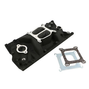 Sbc Chevy Dual Plane Black Texture Aluminum Intake Manifold For Vortec 350 Heads
