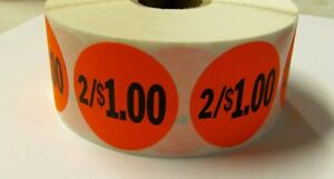 1000 Bright Red 2 1 00 Price Point Label Retail Sticker 1 1 2 Circle 1 5 2 1