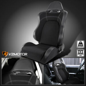 Driver Side Reclinable Carbon Style Gray Black Sport Racing Seat W Slider