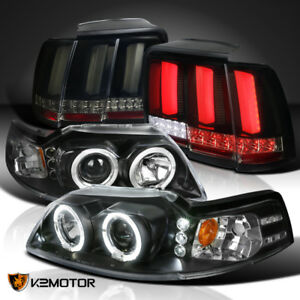 Black 99 04 Mustang Halo Projector Headlight smoke Sequential Led Tube Tail Lamp