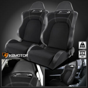driver passenger Reclinable Carbon Style Gray black Racing Seats W sliders