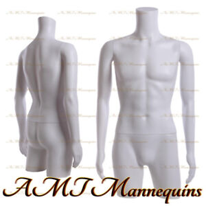 Male Mannequin Dress Form With Rotated Arms Hips White Plastic Torso Mt 2w