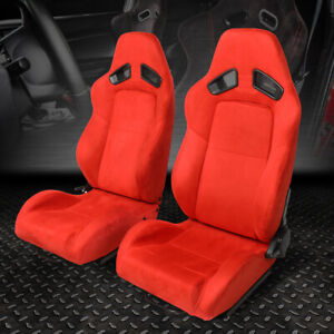 Left right Side Red Suede Fully Reclinable Sport Racing Seats universal Slider
