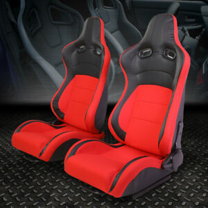 Left right Black red Fabric Full Reclinable Sport Racing Seats universal Slider