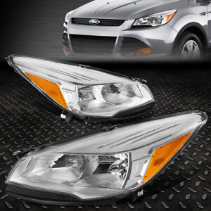 For 2013 2016 Ford Escape Suv Pair Chrome Housing Amber Side Headlight lamp Set