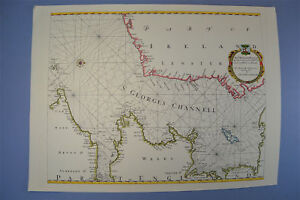 Vintage Marine Chart Sheet Map Of St Georges Channel Circa 1700