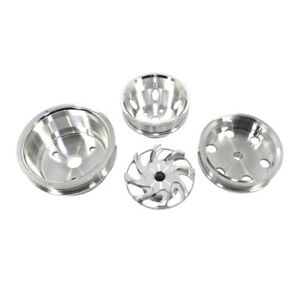 Small Block Chevy Long Water Pump Serpentine Billet Polished Aluminum Pulley Set