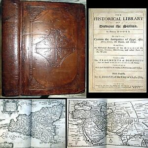 1699 Historical Library D Siculus 1st English Maps Egypt War Persia Sea Monster