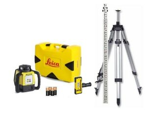 Rotating Laser Leica Rugby 620 Rod Eye 120 W Elevating Tripod Rod Package