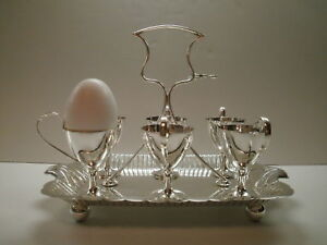 Walker Hall English Sheffield Egg Cup Holder Tray Stand Set For 6