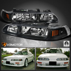 Fits 90 93 Acura Integra Jdm Black 1 Piece Replacement Headlights Left right