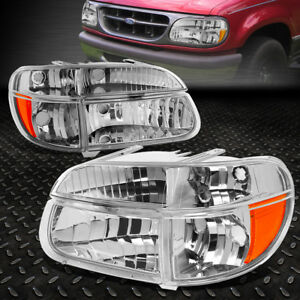 For 1995 2001 Ford Explorer Pair Chrome Housing Amber Corner Headlight Lamp Set