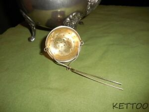 Sterling Silver Antique Victorian Hanging Tea Strainer Basket Infuser