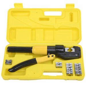 Industrial 8 Ton Hydraulic Wire Terminal Crimper Battery Cable Lug Tool Dies Set