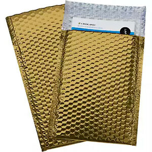 200 2 Glamour Metallic Gold Metalized Bubble Mailers Envelopes Bags 8 5x12