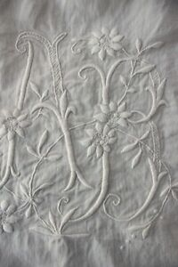 Antique French Linen Sheet Ab Monogram Finely Woven White 87 X 124 King Size