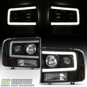 New Black 1999 2004 Ford F250 F350 F450 Super Duty Led Tube Projector Headlights