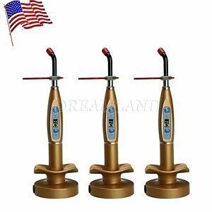 Usa Stock 3 dental Wireless Cordless Led Cure Curing Light Lamp Golden F td