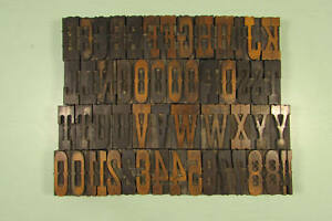 Egyptian Ornamented Wood Type Blocks Letterpress 2 Inch Uppercase Numbers
