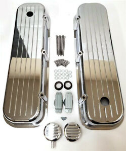 Bbc Big Block Chevy Tall Chrome Valve Covers Ball Milled Aluminum 396 W Breather