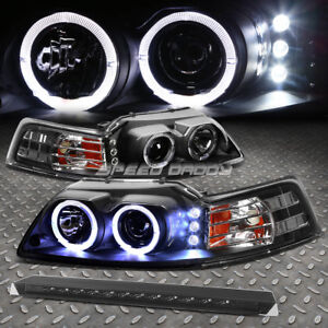 Black Dual Halo Projector led Headlight smoked 3rd Brake Light For 99 04 Mustang