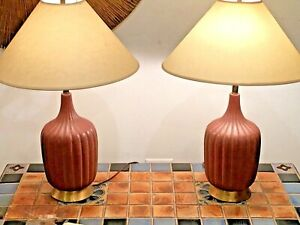 Mid Century Modern Table Lamps Ceramic Fluted Body Brass Base Vintage
