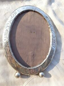 Antique Victorian Sterling Floral Chased Oval 7 Photo Frame 7x5 For Restoration