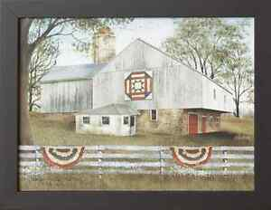 Country New American Star Quilt Barn Wall Print In Wood Frame Nice