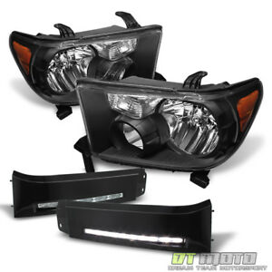 Blk For 2007 2013 Toyota Tundra 08 17 Sequoia Headlights Led Drl Fog Lights Lamp