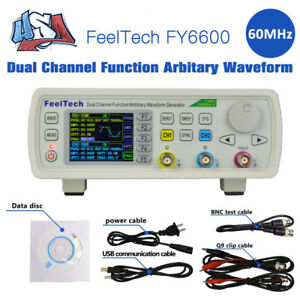 New Fy6600 60mhz Dual channel Function Dds Waveform Signal Generator Counter Us