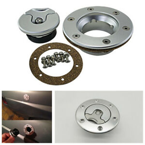 Universal Billet Aircraft Style Fuel Cell Gas Cap Flush Mount W 6 Hole Anodized