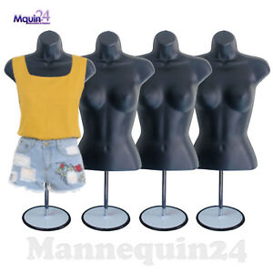 4 Female Torso Mannequins Black 4 Metal Stands 4 Hangers Women Dress Forms