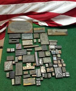 90 Vintage Printing Letterpress Blocks Stamps Cat Football Rare Must See 1800s