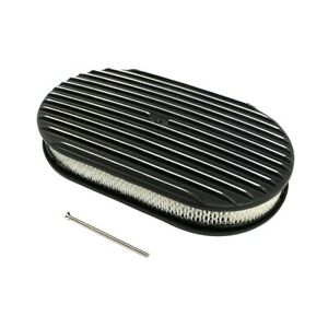 15 Full Finned Black Polished Fins Aluminum Oval Retro Air Cleaner W Element