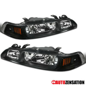 For 90 93 Acura Integra Black 1 piece Headlights corner Signal Lamps Pair