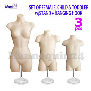 Female Child Toddler Torso Mannequin Set In Flesh 3 Stands 3 Hangers
