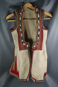 1880 Macedonian Skopje Folk Costume Wool Dress Robe Metallic Embroidery Girl S