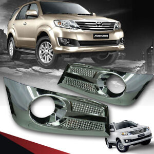 Chrome Cover Fog Lamp Spot Light Pair Fit For Toyota Fortuner Sw4 Suv 2012 2014